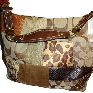 Coach Carly Patchwork Leather Animal Print Purse